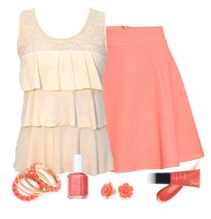 """""""Pantone Spring: Peach Echo"""" by mary-grace-see ❤ liked on Polyvore featuring H&M, Ruby Rocks, INIKA, Essie, Bling Jewelry, pantone, spring2016 and peachecho"""