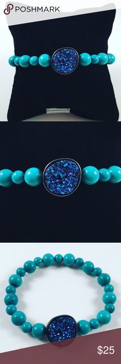 Women blue turquoise and quartz beaded bracelet Women beaded bracelet. Fits most , 6 to 7.5 inch wrist . Handmade by me , never worn by anyone. Made with blue turquoise beads . And a beautiful blue purple galaxie druzzy quartz. I ship fast!!✈️ Jewelry Bracelets