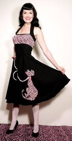 d1347fe4b8182 Slimming Purrrrfectly Natural or Pink Kitty-Cat Halter Dress... Meeeowww...  Regular and Plus Sizes... 50s Retro Vintage style... Kawaii.