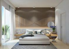 pared de madera iluminada en el dormitorio moderno