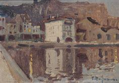 Eliseo Meifrén Roig. Platja Gran, Reflejos, Cadaqués. Óleo sobre cartón. Firmado. 25 x 35 cm. Ausa, 350.