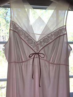 Vintage Shadowline Nightgown Medium Tall Pale Pink Nylon 58 inch long V-Neckline #ShadowLine