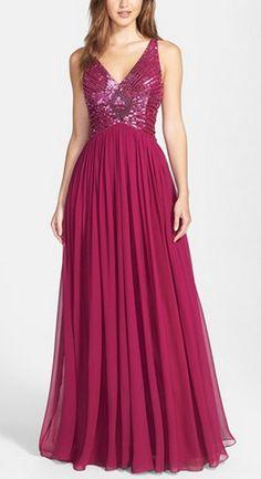 Embellished Bodice Chiffon Ballgown in raspberry