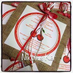 Invitation handmade by Nikolas Ker #cherries#baptism#girl#decoration www.nikolas-ker.gr
