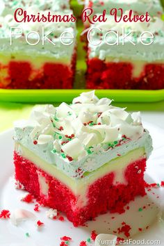 Christmas Red Velvet Poke Cake - very tasty, rich and moist! So easy to make, you need only few ingredients. Christmas Red Velvet Poke Cake
