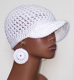 White crochet hat with earrings by Razonda Lee Free Crochet, Crochet Hats, Good Cause, Ear Rings, Crochet Patterns, Trending Outfits, Unique Jewelry, Handmade Gifts, Etsy