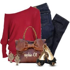 sweater, red, purs, christmas outfits, leopards, denim, bow bag, shoe, fashion designers