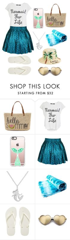"""(Contest) Beach Totes"" by mckennastead ❤ liked on Polyvore featuring Straw Studios, Casetify, Disney, Havaianas, Wildfox, Kate Spade and beachtotes"