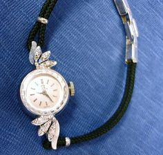 Vintage OMEGA Ladies Watch – Woman's 14K White Gold with Diamonds - Running