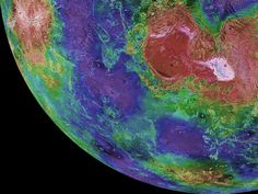This hemispheric view of Venus was created using more than a decade of radar investigations culminating in the 1990-1994 Magellan mission, and is centered on the planet's North Pole. This composite image was processed to improve contrast and to emphasize small features, and was color-coded to represent elevation.