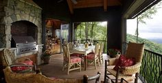 What a beautiful porch at the cabin lake house!