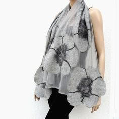 Nuno felted scarf silk and wool gray by MajorLaura on Etsy Nuno Felt Scarf, Felted Scarf, Felted Wool Crafts, Handmade Scarves, Fibre Textile, Silk Wool, Nuno Felting, Silk Scarves, Shawls And Wraps