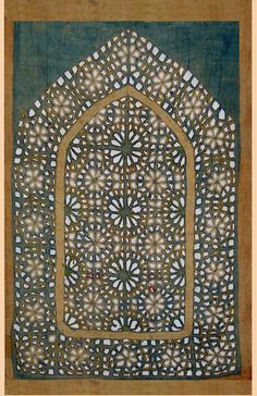 LOOKS LIKE A PATTERNED WINDOW!  Antique Indian Textile. Cotton Applique panel from a tent.  1700-1800 A.D