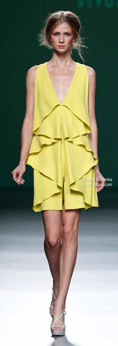 Devota & Lomba Spring 2014 Collection featured during Mercedes-Benz Fashion Week Madrid Couture Fashion, Runway Fashion, Unique Fashion, High Fashion, Yellow Fashion, Mellow Yellow, Couture Collection, Fashion Stylist, Simple Dresses