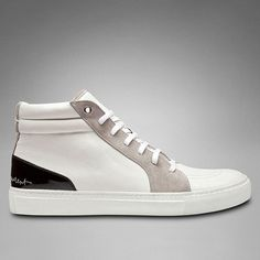 YSL Malibu Mid-Top Sneaker in White and Grey Leather