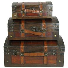 Hobby Crafts & Decor - Brown Wood Dome Shaped Trunk Box Set