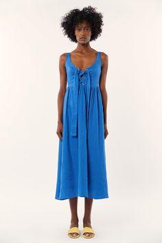 Lace Up Midi Dress