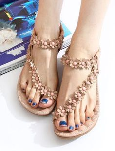 Summer Women Bohemia Casual Floral Flat Shoes Beach Sandals Slippers Shoes Flip Flops = 5657959425 from Pepper Berry. Saved to Epic Wishlist. Zapatos Shoes, Shoes Flats Sandals, Beaded Sandals, Flat Sandals, Women's Shoes, Fringe Sandals, Cute Shoes, Me Too Shoes, Boho Shoes