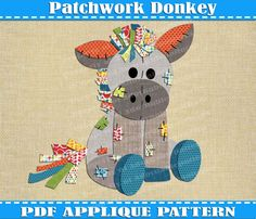 Patchwork Donkey Applique Pattern Template by AdornablePatterns quilt pattern. Baby quilt. Iron on transfer. Etsy. Applique pattern clipart farm animal