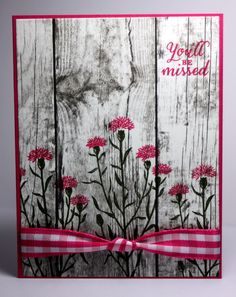 Wild Flower Case by grannytranny - Cards and Paper Crafts at SplitcoaststampersWould work with Background Bits flowers tooWild Flower: Would make a nice sympathy card.Stamp on wood grain paperI really loved this card! I switched the colors up a bit b Making Greeting Cards, Greeting Cards Handmade, Cute Cards, Diy Cards, Karten Diy, Retirement Cards, Stamping Up Cards, Get Well Cards, Sympathy Cards