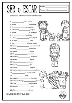 Free Spanish worksheets: SER O ESTAR. For some of these, either ser or estar would work depending on the context of use. You could have kids write a note about how the message changes based on which verb is used. https://es.islcollective.com/resources/printables/worksheets_doc_docx/ser_o_estar/ser-y-estar/67735: