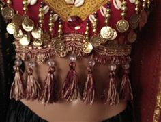 Red Tribal Belly Dance Bra Top Cowrie Shells Coins