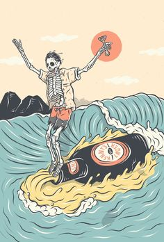 Our surf artist spotlight on Kentaro Yoshida - an Australian Japanese artist producing amazingly fun surf characters. Art Surf, Surf Drawing, Wallpaper Animes, Skeleton Art, Skate Art, Dope Art, Japanese Artists, Art Inspo, Art Drawings