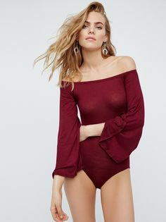 Bell Sleeve Bodysuit | Super comfy and soft off-the-shoulder bodysuit featuring retro-inspired bell sleeves. Elastic band at the neckline for an easy fit.