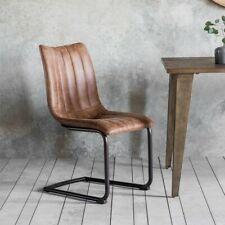 Frank Hudson Gallery Direct Edington Faux Leather Dining Chair Pair Brown Faux Leather Dining Chairs Brown Dining Chairs Dining Chairs