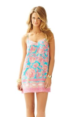 Dusk Strappy Silk Slip Dress - Lilly Pulitzer Sea Blue Coral Cove Engineered Dusk Dress XS