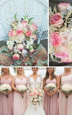 Das Herzstück der Rosen Hochzeit war der rosa Rosen-Brautstrauß im Wasserfallstil. Aufgepeppt mit weißen Hortensien und hellem Heidekraut war der Brautstrauß ein bewundernswerter Hingucker am Brautkleid der hübschen Ashton. I © Jasmine White Photography