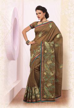 $76.64 Brown Silk Saree 21865 With Blouse