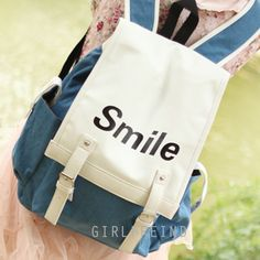 #cute #bacpack Smile canvas backpack - 2colors in #coniefox #2016prom