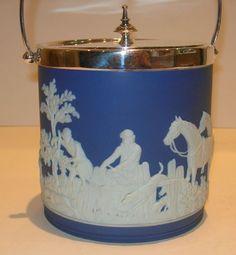 Antique Wedgewood Jasperware biscuit barrel /cookie jar - fox hunt