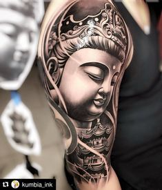 Beautiful work Repost kumbia ink get repost Buddha Tattoo Design, Shiva Tattoo Design, Forearm Tattoo Design, Asian Tattoo Sleeve, Japanese Sleeve Tattoos, Buddhist Symbol Tattoos, Hindu Tattoos, Buda Tattoo, Ganesha Tattoo