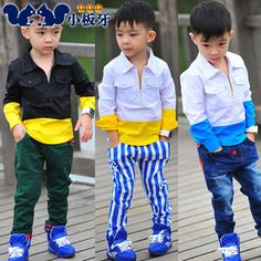2013 autumn korean version of the new autumn childrens clothing childrens spell color half zip shirt shirt 6791 baby boy only $9.98USD a Piece