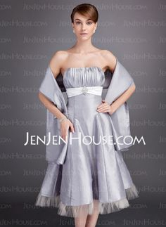 Bridesmaid Dresses - $122.99 - A-Line/Princess Sweetheart Tea-Length Taffeta Tulle Bridesmaid Dress With Ruffle Sash Crystal Brooch (007020952) http://jenjenhouse.com/A-Line-Princess-Sweetheart-Tea-Length-Taffeta-Tulle-Bridesmaid-Dress-With-Ruffle-Sash-Crystal-Brooch-007020952-g20952