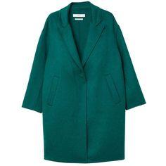 Wool Handmade Coat (420 PLN) ❤ liked on Polyvore featuring outerwear, coats, long sleeve coat, woolen coat, wool coat, lapel coat and mango coats