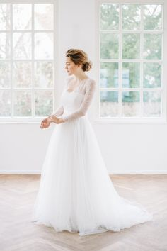 Tulle Wedding Dress with Longsleeve Lace Top by Sina Fischer