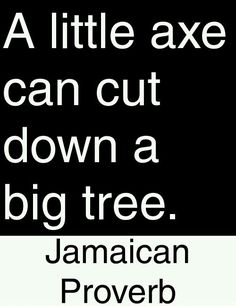 A little axe can cut down a big tree. Powerful Motivational Quotes, Meaningful Quotes, Positive Quotes, Inspirational Quotes, Jamaican Proverbs, Wisdom Quotes, Me Quotes, Proverbs Quotes, Wise Proverbs