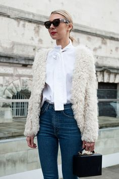 LFW Street Style: Faux Fur and High Waisted Denim