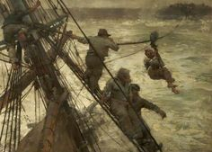 The Rescue by Frank Brangwyn 1887 at Warrington Museum & Art Gallery. This seascape depicts the view from the rigging of a sailing ship on a stormy sea. Men are holding onto the rigging, and one man is hanging from a winch on a rope.