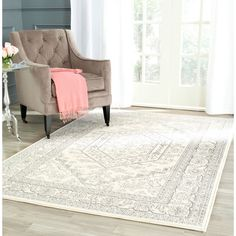 Ivory Silver Area Rug 8 By 10 Vintage Style Living Room Den Carpet Floor New