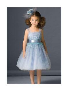 Lovely Blue Ball Gown Straps Neckline Flower Girl Dress