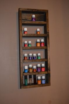 Small Essential Oil Bottle Wall Shelf Young Living doTerra with Roller Bottle shelves
