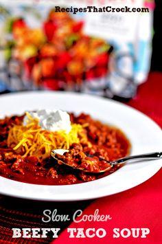 Slow Cooker Beefy Taco Soup #SlowCooker #CrockPot