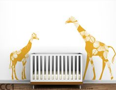 Mom and Baby Floral Giraffes Wall Decals  Yellow by LeoLittleLion, $94.00
