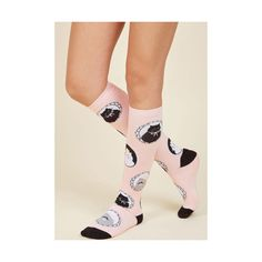 Cats I Can See Clearly Meow Socks ($13) ❤ liked on Polyvore featuring intimates, hosiery, socks, foundation, knee-high sock, pink, knee sport socks, knee high socks, mustache socks and sports socks