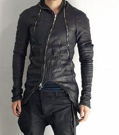 Crinkled leather jacket.