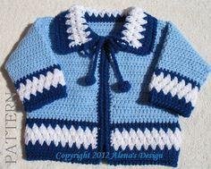 Crochet Pattern 046 Blue Baby Jacket Baby Boys Toddler